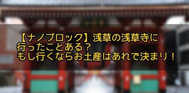 【ナノブロック】浅草の浅草寺に行ったことある?もし行くならお土産はあれで決まり!