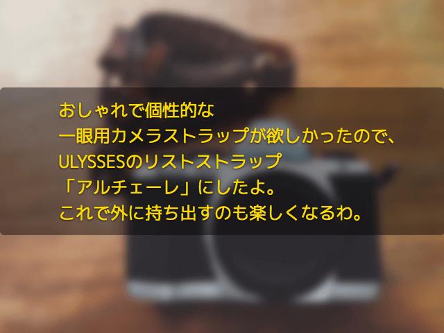 おしゃれで個性的な一眼用カメラストラップが欲しかったので、ULYSSESのリストストラップ「アルチェーレ」にしたよ。これで外に持ち出すのも楽しくなるわ。