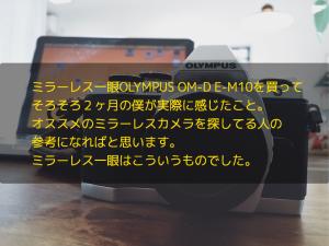 ミラーレス一眼OLYMPUS OM-D E-M10を買ってそろそろ2ヶ月の僕が実際に感じたこと。オススメのミラーレスカメラを探してる人の参考になればと思います。ミラーレス一眼はこういうものでした。