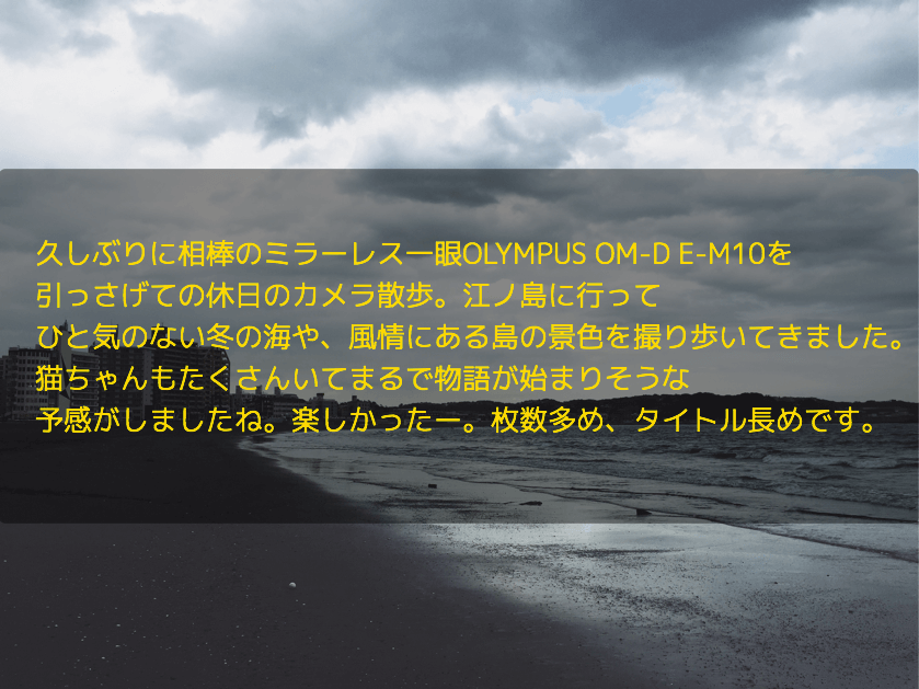 久しぶりに相棒のミラーレス一眼OLYMPUS OM-D E-M10を 引っさげての休日のカメラ散歩。江ノ島に行って ひと気のない冬の海や、風情にある島の景色を撮り歩いてきました。 猫ちゃんもたくさんいてまるで物語が始まりそうな 予感がしましたね。楽しかったー。枚数多め、タイトル長めです。