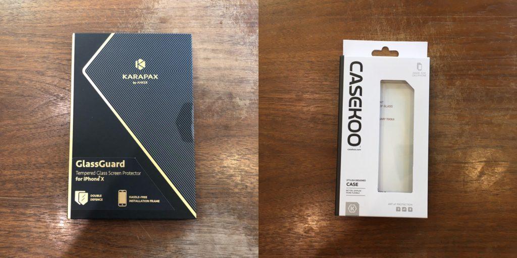 iPhone Xと一緒にとりあえずANKERとCASEKOOのアクセサリーAmazonで買ったよ